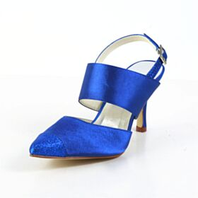 Raso Sandali Scarpe Da Sposa Blu Elettrico Tacco Alto 8 cm Tacco A Spillo
