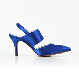 Destalonados Stilettos Zapatos De Novia Tacon Alto Sandalias Azul Electrico