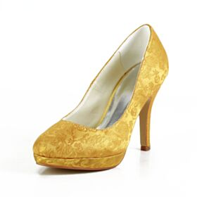 4 inch High Heel Pumps Shoes Stilettos Bridal Shoes 2020 Satin Yellow Embroidered