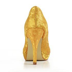 Amarillo Mostaza Tacones Altos Elegantes Zapatos Para Novia Satin Zapatos Mujer Stilettos