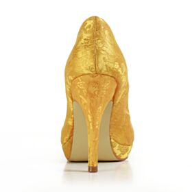 Escarpins Chaussure Mariage Élégant 10 cm Talon Haut Bout Pointu Jaune