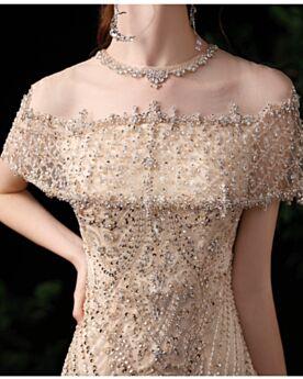 Robe De Bal Paillette Brillante Perlage Longue Epaule Dénudée Robe De Soirée Champagne Robe Fiancaille Luxe