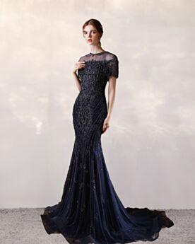 Tul Largos Vestidos De Noche De Lentejuelas Brillantes Azul Marino Escote Redondo Manga Corta Elegantes Corte Sirena