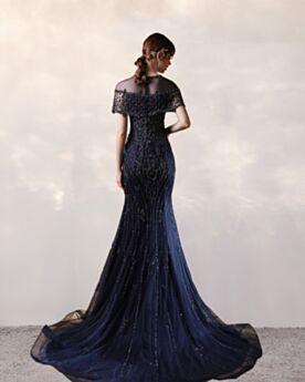 Eleganti Vestiti Da Sera Lunghi A Sirena Girocollo Tulle Blu Notte Vestiti Cerimonia Paillettes