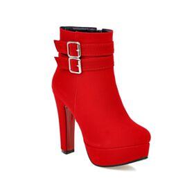 High Heels Damenschuhe 12 cm Mit Absatz Stilettos Plateau Gefütterte Kunstleder Rot Wildleder Ankle Boots Stiefel