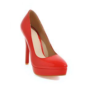 Stiletto De Suela Roja Tacon Alto Polipiel Vestido Para Trabajo De Charol Clasico Dia Zapatos Tacones Rojos