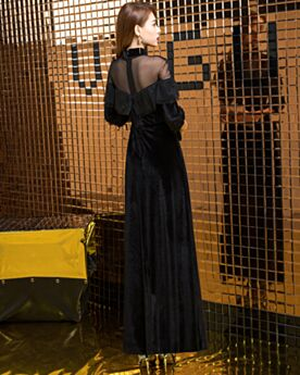 Di Velluto Peplum Dress Vestiti Da Cocktail Maniche A Campana Little Black Dress Lunghi Con Balze Collo Alto Abiti Da Cerimonia