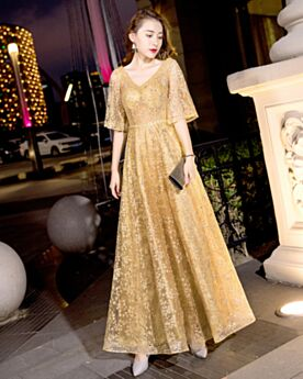Bell Sleeve Sparkly Backless Formal Evening Dress Empire Glitter Christmas Party Dress Half Sleeve Lace Elegant Appliques