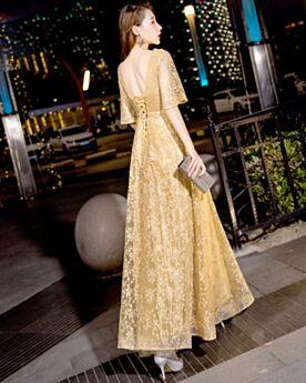 Lange Abendkleider Empire Glitzer Spitzen Rückenausschnitt Abiballkleid Applikationen Silvester Kleider Gold Ballkleider Glockenärmel Glitzernden