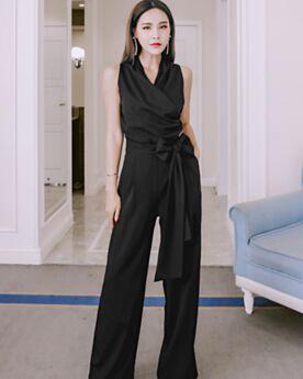 Sleeveless Office Dress Black Jumpsuit Wrap High Waisted Pants Long Casual Dress