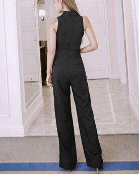 Pantaloni Larghi Portafoglio Pantaloni A Vita Alta Con Fiocco Lungo Ufficio Semplici Tutine Eleganti Con Cintura Senza Maniche