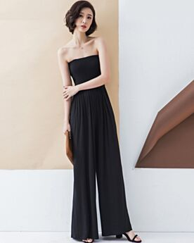 Black High Waisted Pants Jumpsuits Long Going Out Casual Dress Chiffon Wide Leg Pants Sleeveless Simple Strapless Backless