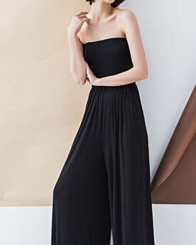 ブラック バックレス お出かけ パンツ ドレス ロング ノースリーブ ワイド レッグパンツ 43820190117