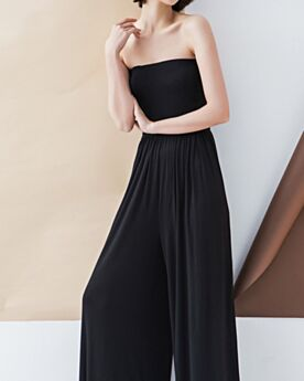 Pantalon Large Simple Ete Pantalon Taille Haute 2019 Dos Nu Combinaison Pantalon Bustier Noir Robe Casual