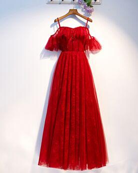 Brautjungfernkleid Abendkleider Schulterfreies Empire Spitzen Spaghettiträger Off Shoulder
