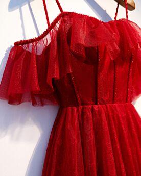 Robe De Ceremonie À Volants Rouge Dentelle Epaule Nu Epaule Dénudée Dos Nu Robes De Soirée Longue Robe Demoiselle D honneur Manche Courte Empire