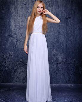 Abendkleid Empire One Shoulder Weiß Brautjungfernkleider Ärmellos Volant Lange