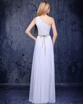 Empire Robe Soirée Volantée Mousseline Simple Robe De Ceremonie Une Épaule Dos Nu Sans Manches Longue Robe Demoiselle D honneur