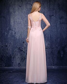 Brautmutterkleider Lange Chiffon Abendkleid Rückenfreies Brautjungfernkleid Halbe Ärmel Empire Spitzen Lyserosa Elegante Kleider Hochzeitsgäste