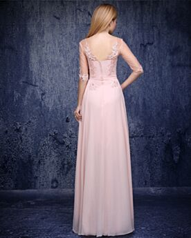 Elegante Chiffon Roze Feestjurk Open Rug Avondjurk Bruidsmoederjurken Kanten Empire Jurken Voor Bruiloft Bruidsmeisjes Jurk