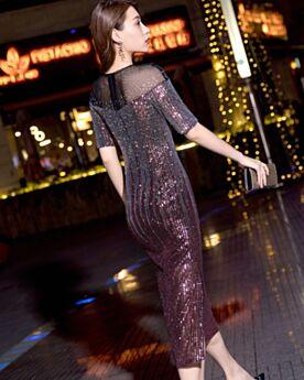 Short Sleeve Tea Length Rhinestones Sequin 2019 Cocktail Party Dress Sparkly With Belt Club Dress Sheath