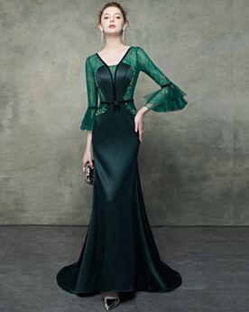 Col V Dos Nu Sirène Demi Manche Robe Soirée Vert Foncé Longue Ceinture Dentelle Élégant Robe Mère De Mariée