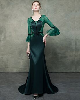 Maniche A Campana Abiti Mamma Sposa Mezza Manica Verde Bottiglia Eleganti Sirena In Pizzo Con Cintura