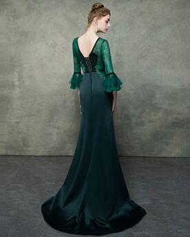 Meerjungfrau Satin Lange Rückenausschnitt Abendkleider Elegante Spitzen Dunkelgrün Brautmutterkleid