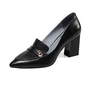 Block Heels Pumps Leather Classic 7 cm Heel Spring