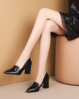 Chunky Heel Schwarz 7 cm Mittel Heel Klassisch Pumps Business Schuhe Damen Leder Blockabsatz