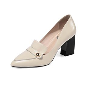 Spitz Zeh Metallknopf Stöckelschuhe Klassisch Chunky Heel Leder Business Schuhe Damen Weiß Mit 7 cm Absatz