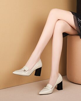 Classic Leather Block Heel Office Shoes Thick Heel White Pumps Mid Heels