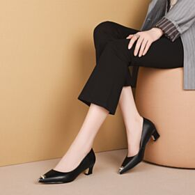 Mid Heels Office Shoes Stiletto Leather Pointed Toe Black Pumps Shoes Metal Button Comfortable