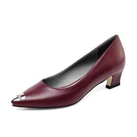 Petit Talon Chaussures De Travail Escarpins Confort Bordeaux Bout Pointu Talons Aiguilles