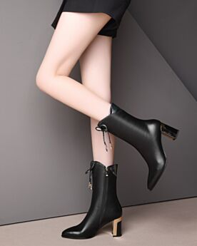 Pointed Toe 3 inch High Heel Booties Leather Black Patent