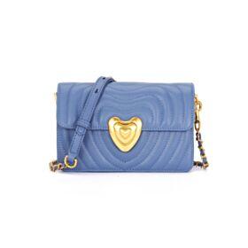 Umhängetasche Modern Casual Himmelblau Schöne Hart Crossbody Bag Leder Gesteppte Tasche