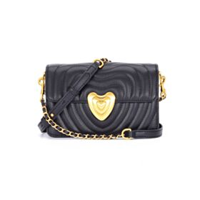 Bag Crossbody Flap Black Shoulder Bag Hard Leather With Gold Chain
