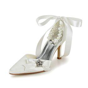 Satin Sandalen Knöchelriemen Stilettos Brautschuhe Mit 8 cm High Heel Mit Schleife Schönes Mit Perle