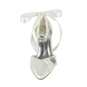 With Bow With Pearl Ivory Pointed Toe Stiletto Sandals For Women 8 cm High Heels 2020 Satin Elegant With Ankle Strap Wedding Shoes
