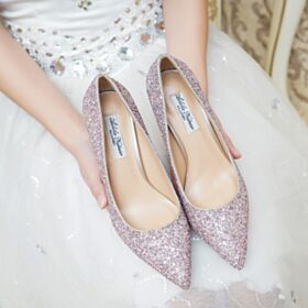 3 cm Low Heel Quinceanera Shoes Party Shoes Pumps Bridal Shoes Comfortable Pink Pointed Toe Glitter
