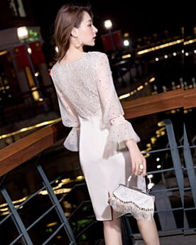 Satin Short Sheath Graduation Dress Elegant White Sequin Cocktail Party Dress Long Sleeve Semi Formal Dresses Sparkly
