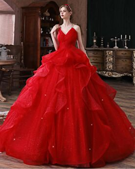 Red Ruffle Tulle Sleeveless Elegant Glitter Ball Gowns Open Back Bandeau Wedding Dress