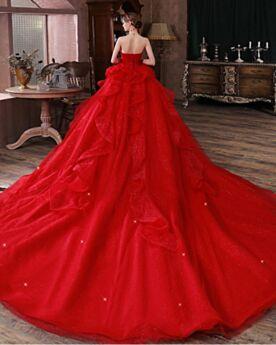Rückenausschnitt Rot Prinzessin Brautkleider Bandeau Rüschen Schönes Glitzer