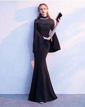 Kleider Hochzeitsgäste Strasssteine Abendkleid Frühlings Lange Festliche Kleider Elegante Schwarz Lange Ärmel Spitzen Transparentes
