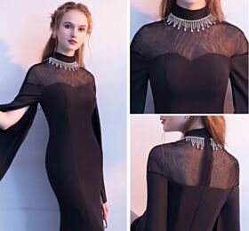 Transparent Beautiful Formal Evening Dresses Mother Of Bridal Dress Mermaid Long Sleeve Bell Sleeve Scoop Neck Lace