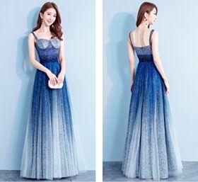 Corte Imperio Azul Cielo Espalda Abierta Brillantes Vestidos De Prom Fiesta Lentejuelas Tul Largos Escote Corazon