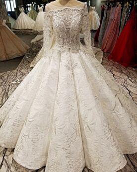 Brautkleider Stickerei Perlen Rückenfreies Lange Kristall Spitzen Elegante Prinzessin Weiß Vintage Rundhalsausschnitt
