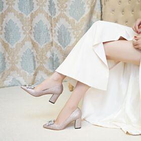Brillantes Zapatos Para Novia Tacon Ancho Purpurina Zapatos Mujer Fiesta Oro Rosa 7 cm Tacon Zapatos Tacones