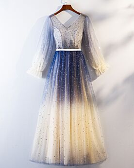 Ball Gown Cocktail Dress Tulle Homecoming Dress 2019 Navy Blue Sparkly Backless Beautiful Occasion Gowns Sequin Long Sleeves