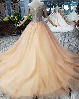 Prinzessin Lange Pailletten Perlen Ballkleider Glitzernden Off Shoulder Jugendweihe Kleider Gold Abendkleid Festliche Kleider